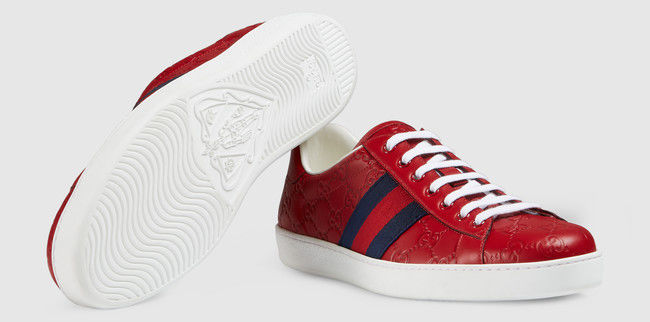 58cce3027 Ace Gucci Signature Low-Top Sneakers